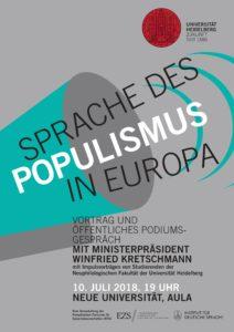 Plakat Sprache des Populismus